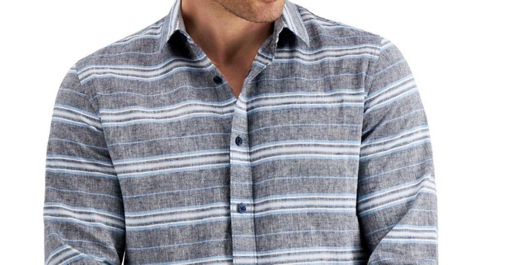 man wearing a striped shirt