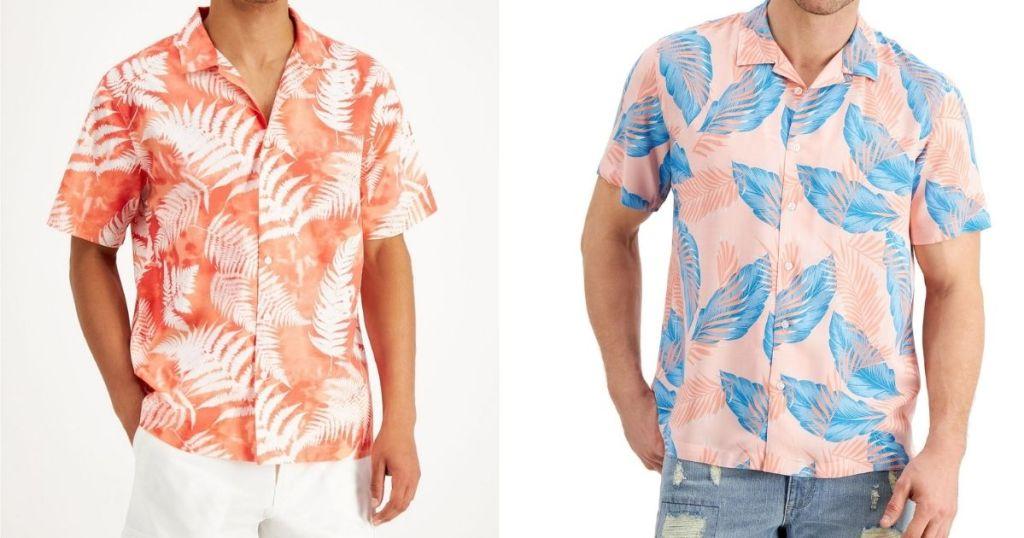 two men wearing floral shirts