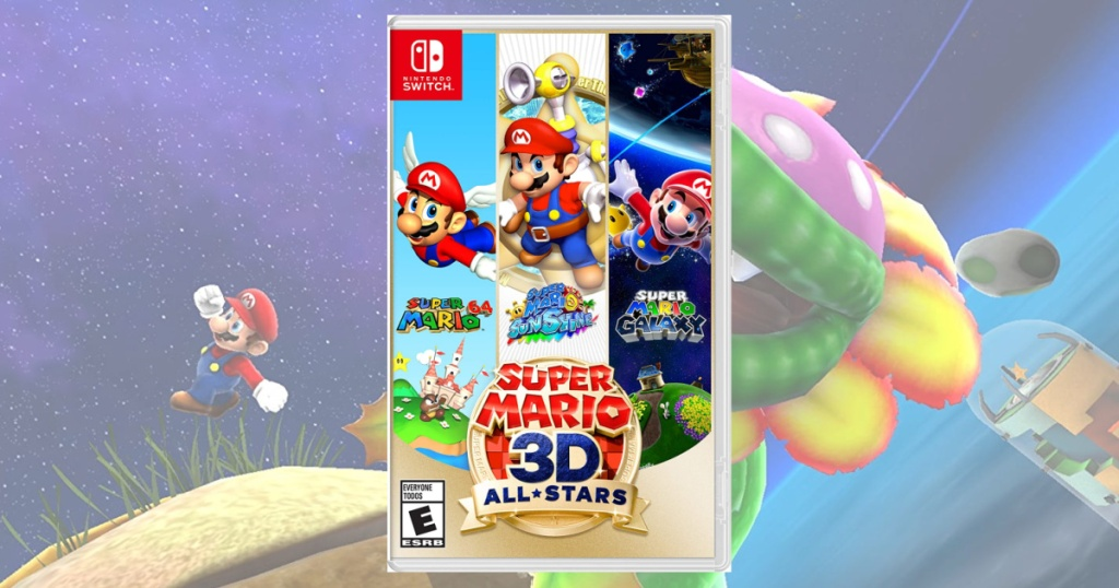 Super Mario 3D Nintendo Switch Game with game screen in the background