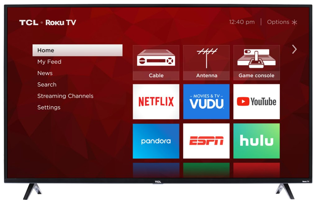 "55"" smart tv with red menu screen showing available options and apps"