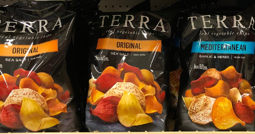 bags of vegetable chips on store shelf