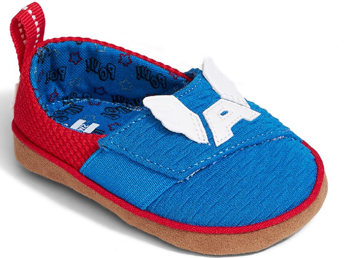 Captain American TOMS toddler slip on shoes