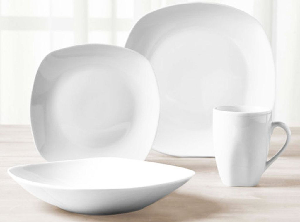 square shaped white dinnerware set on table