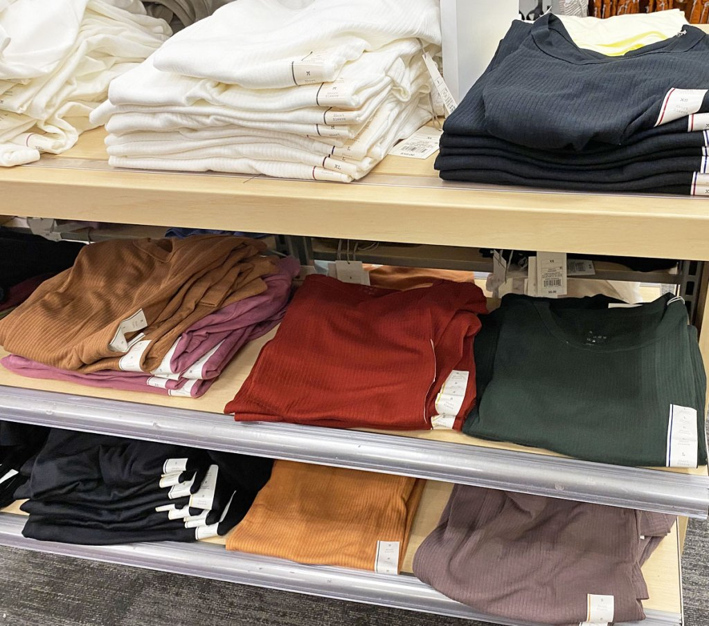 folded women's ribbed t-shirts on target display shelves