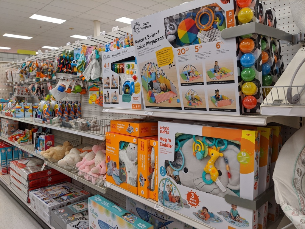 target shelfs with baby activity sets