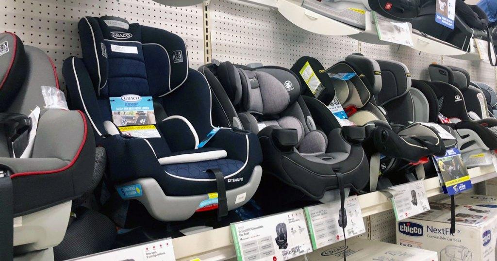 children's car seats on display at Target