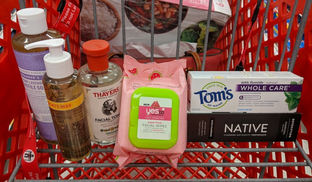 target cart with thayers, burt's bees, yes to, toms and native products