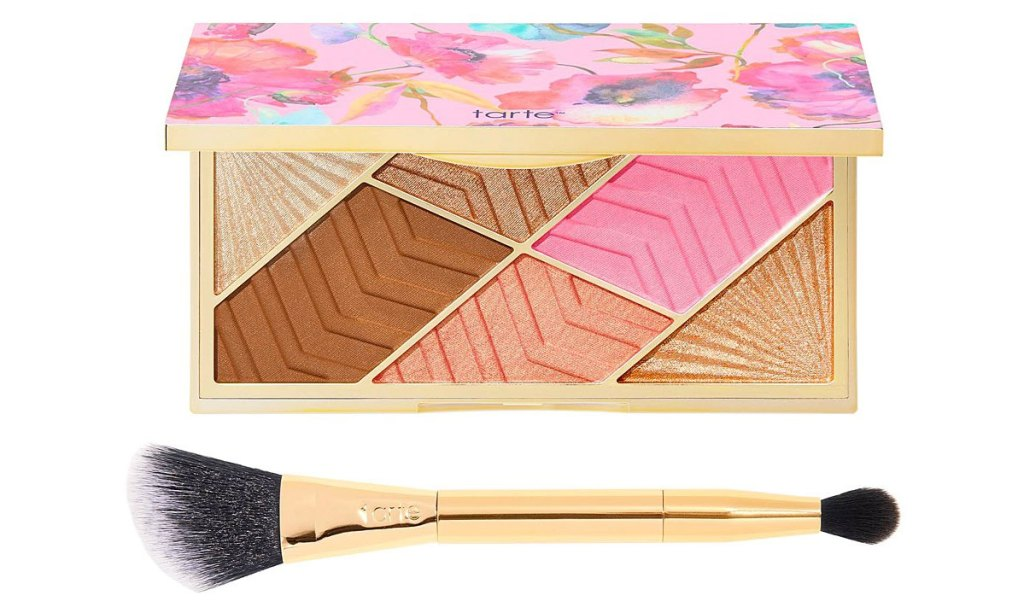 tarte cheek blush and bronzer palette with double ended brush