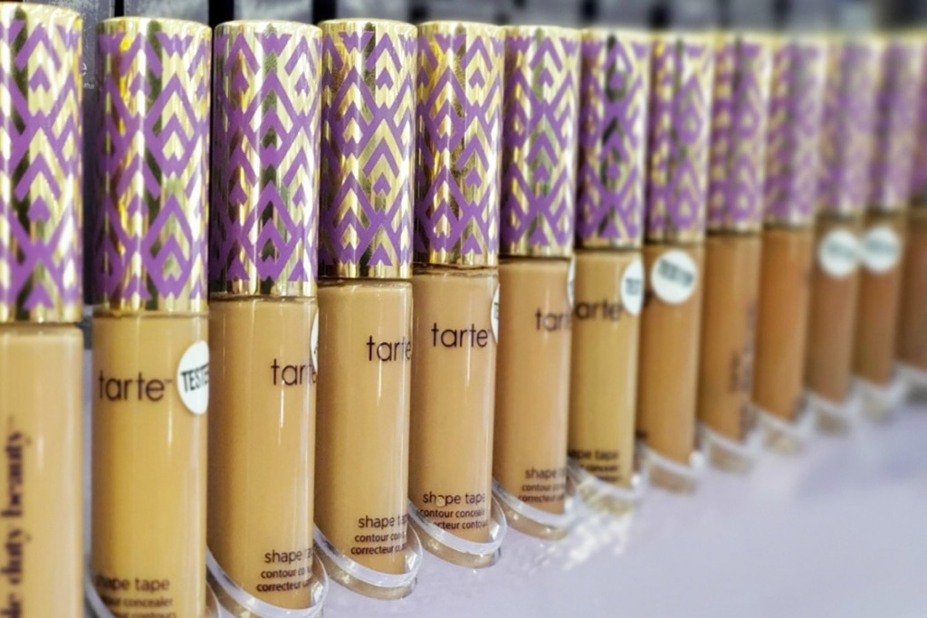 row of Tarte shape tape concealers in various shades