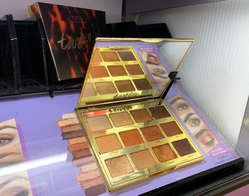tarte cosmetics toasted eyeshadow palette on display at ulta