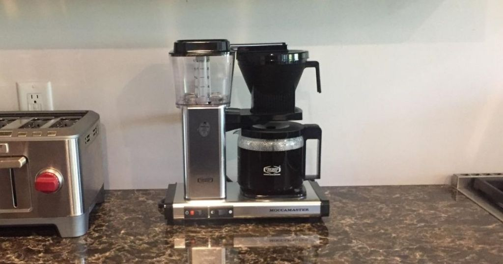 Technivorm Moccamaster on counter top in kitchen