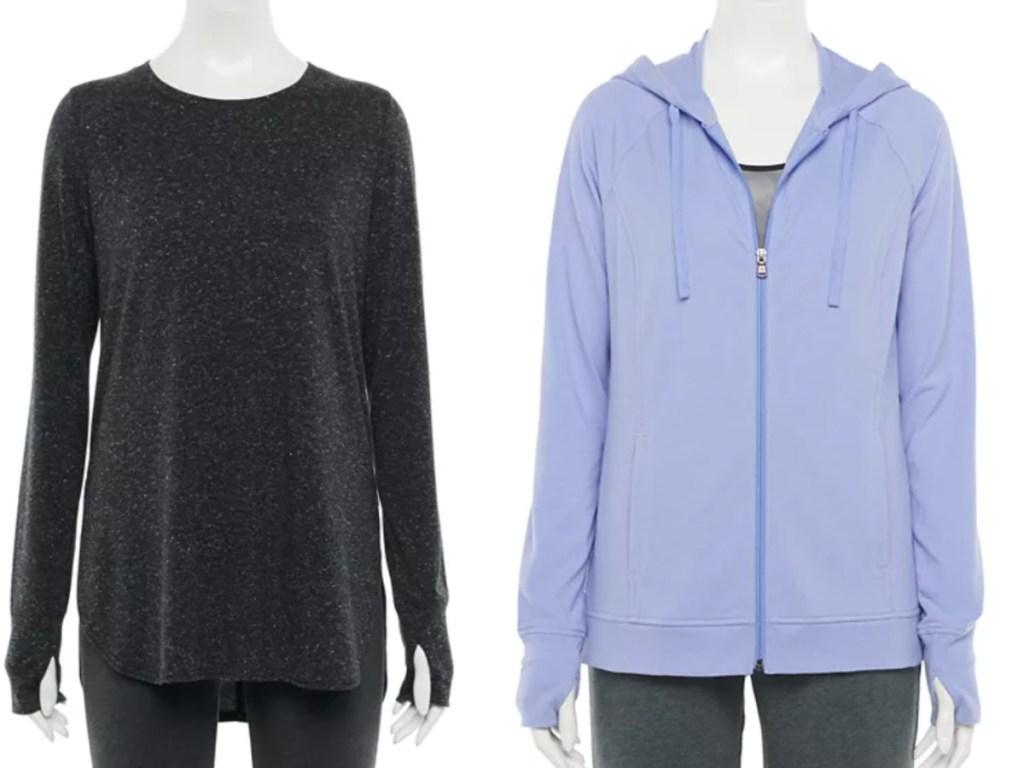 tek gear women's tunic and zippered sweatshirt