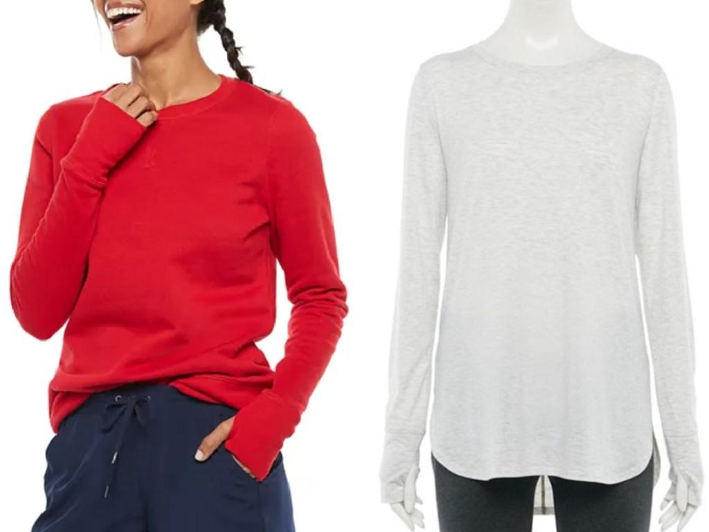 women wearing a red crewneck sweatshirt next to a white tunic top