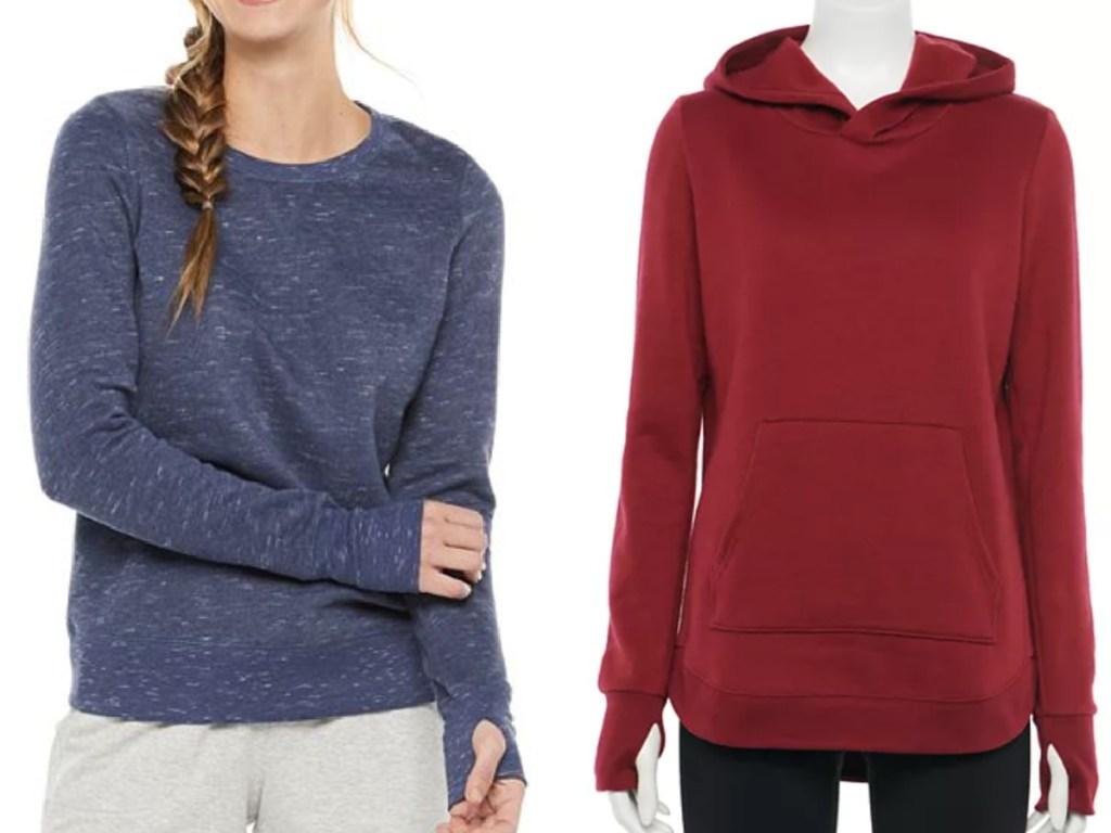 tek gear crew neck sweatshirt and fleece hoodie