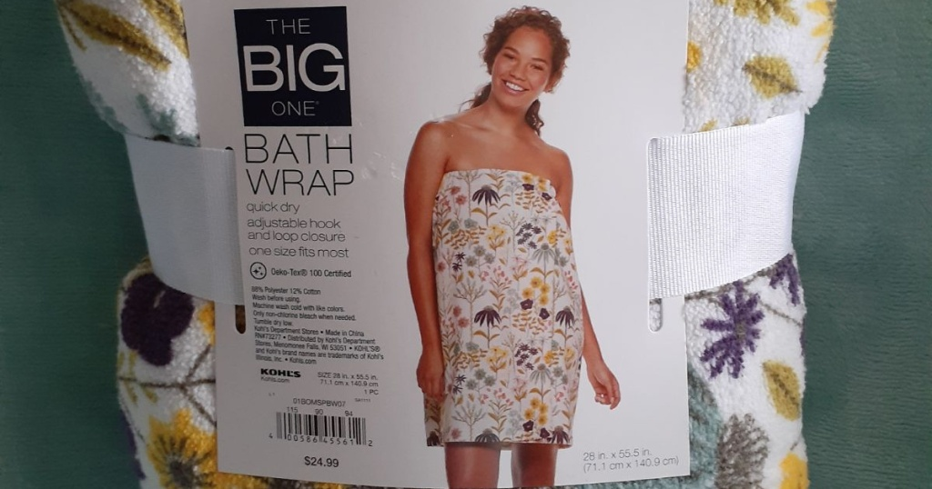 packaged floral print bath wrap and green background