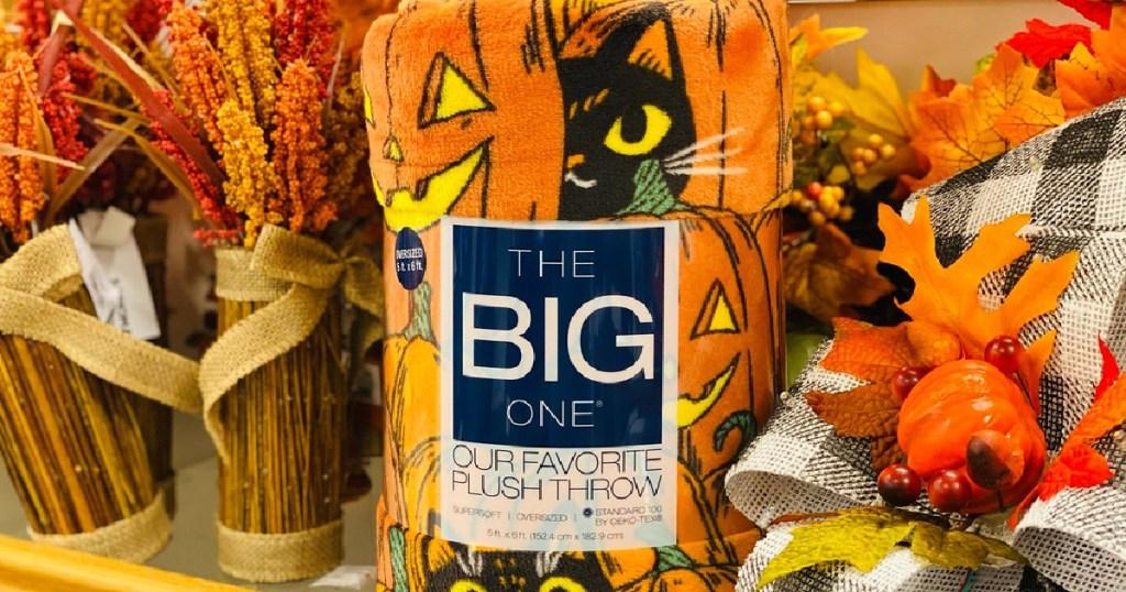 The Big One Halloween Plush Throw around fall decor