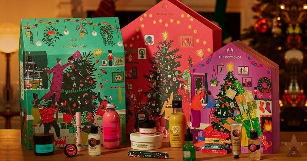 three of the body shop's new advent calendars