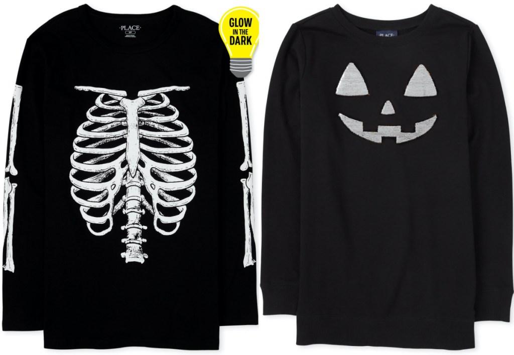 two adult Halloween long sleeve tops