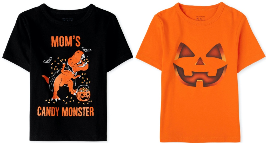 two kids Halloween themed shirts