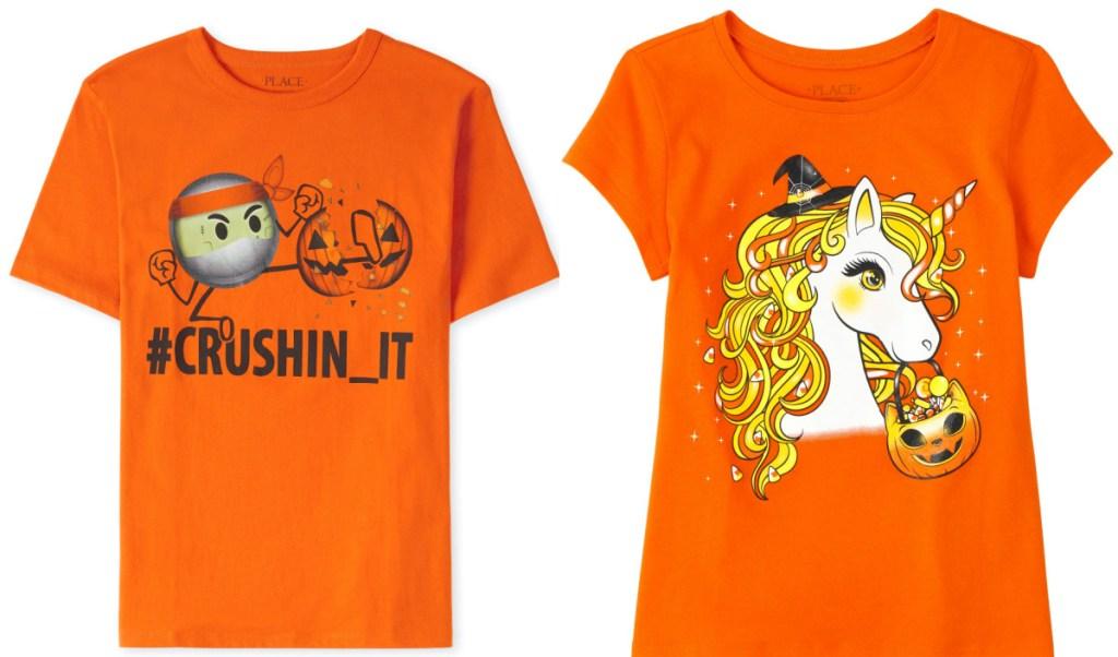 two orange kids Halloween themed shirts