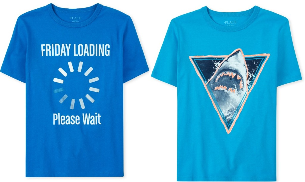 Two styles of boys blue graphic tees