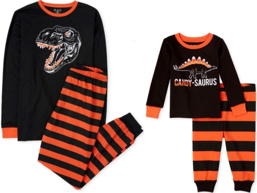 Two pairs of dinosaur theme halloween pajamas for adults and kids