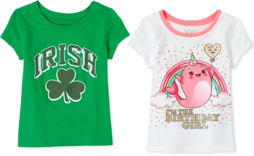 Two styles of holiday themed graphic tees