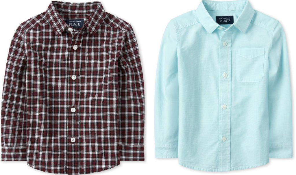 Two styles of baby boys button down long sleeve shirts - plaid and light blue
