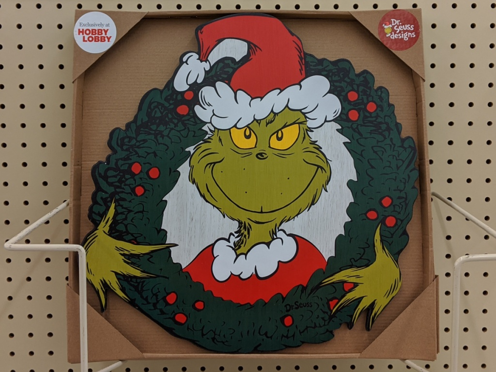 Grinch wreath wall decor in store