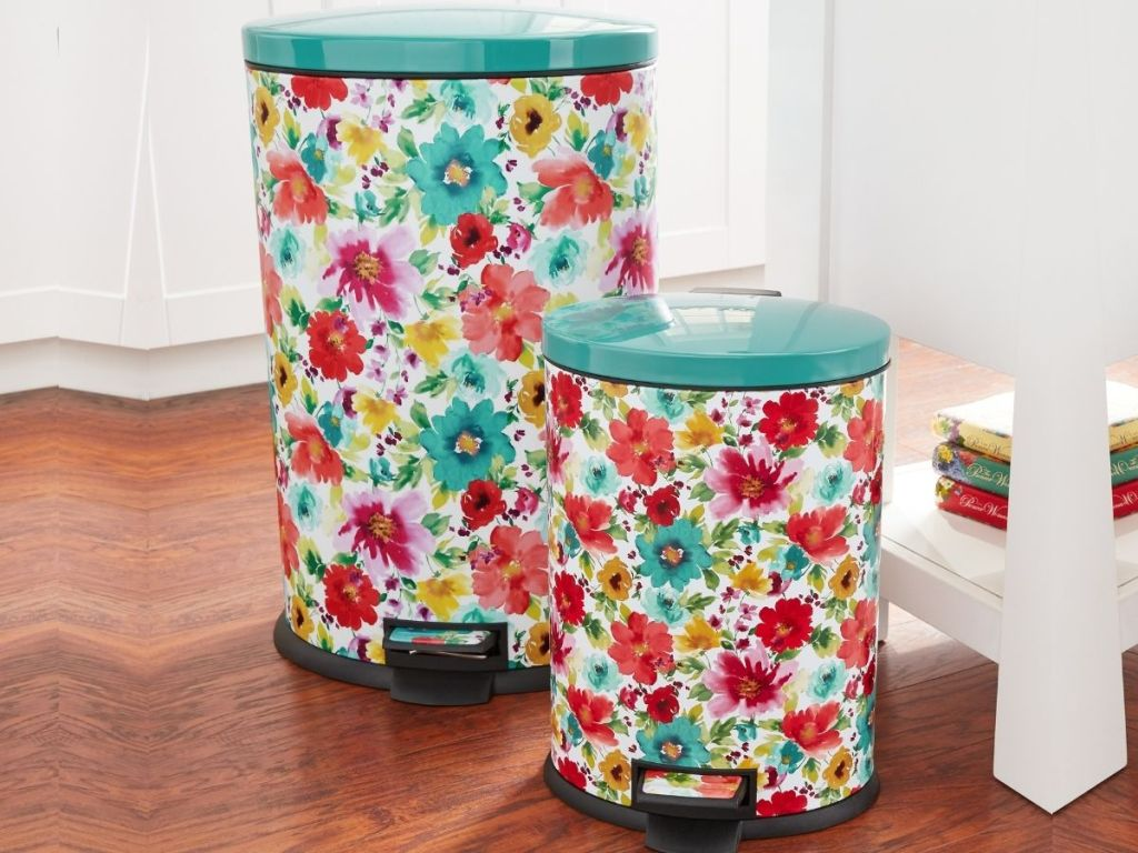 The Pioneer Woman Floral Trash Cans
