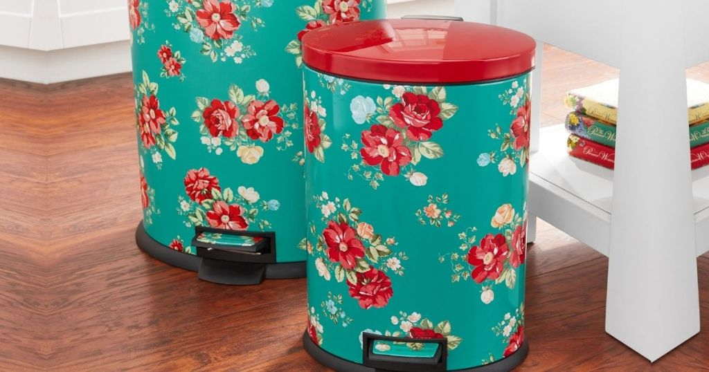 The Pioneer Woman Floral Trash Can Set