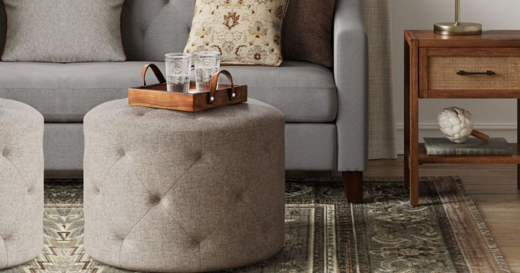 Threshold Caroline Tufted Ottoman