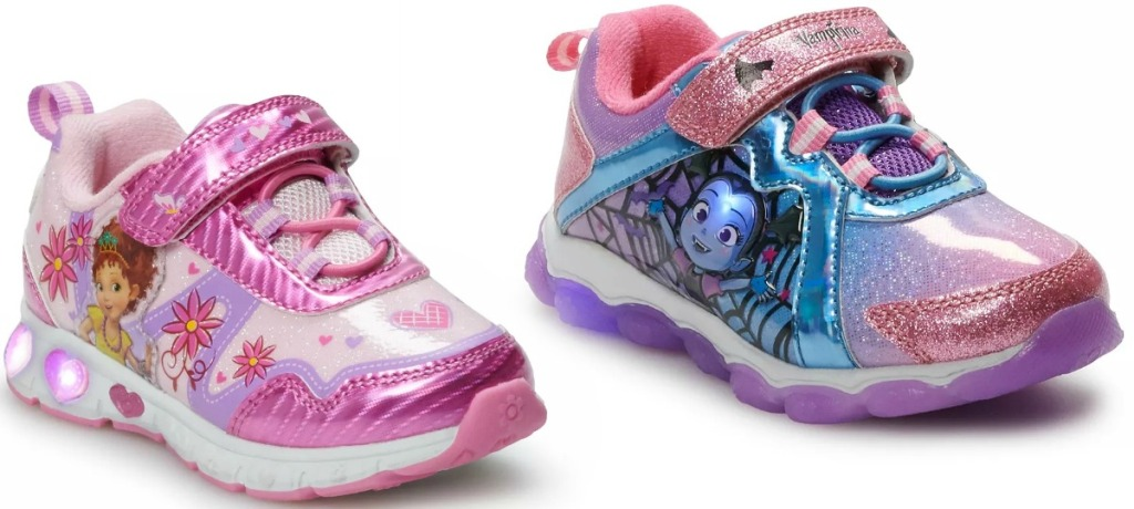 Two styles of toddler girls light up character sneakers