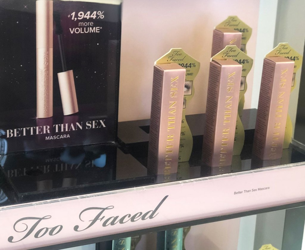 too faced better than sex mascara on display at store