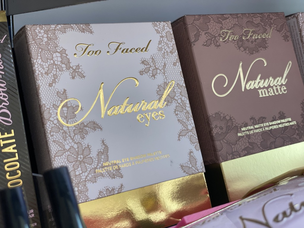 Too Faced Natural palettes on shelf