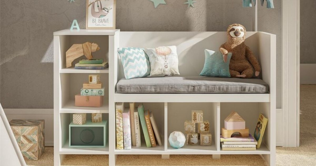 white storage shelf and bench with kids items