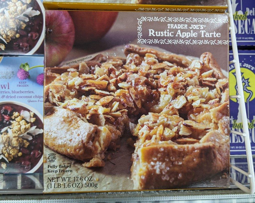 brown box for a frozen rustic apple tarte dessert