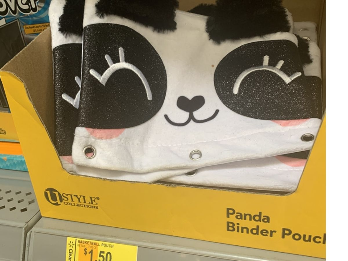 Panda Face Fuzzy Binder Pouch on display in-store