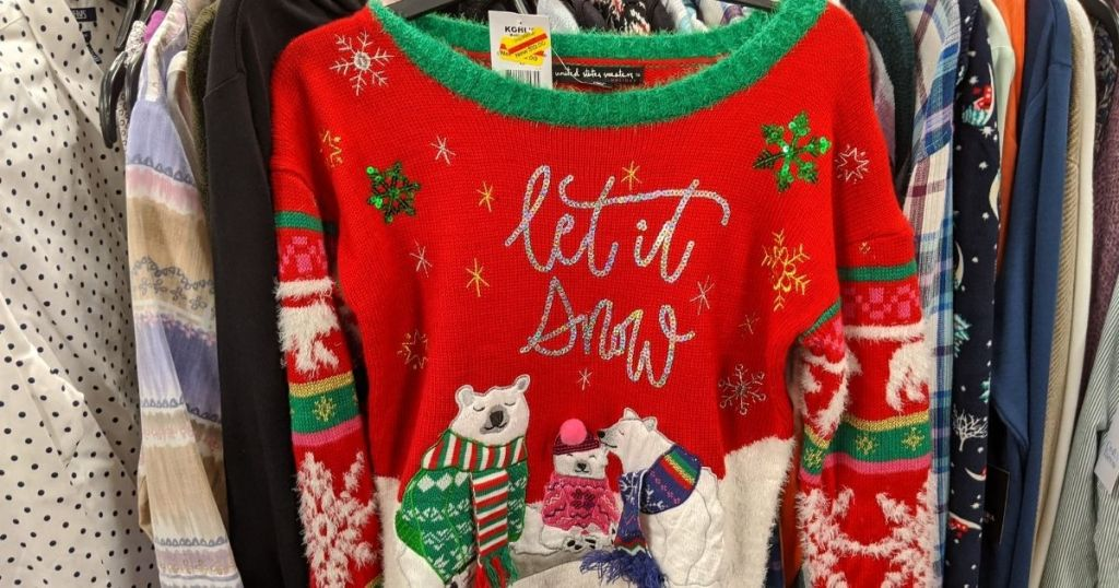 ugly christmas sweater on a hanger