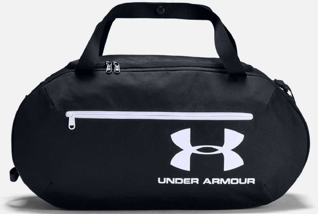 black duffle bag with white logo