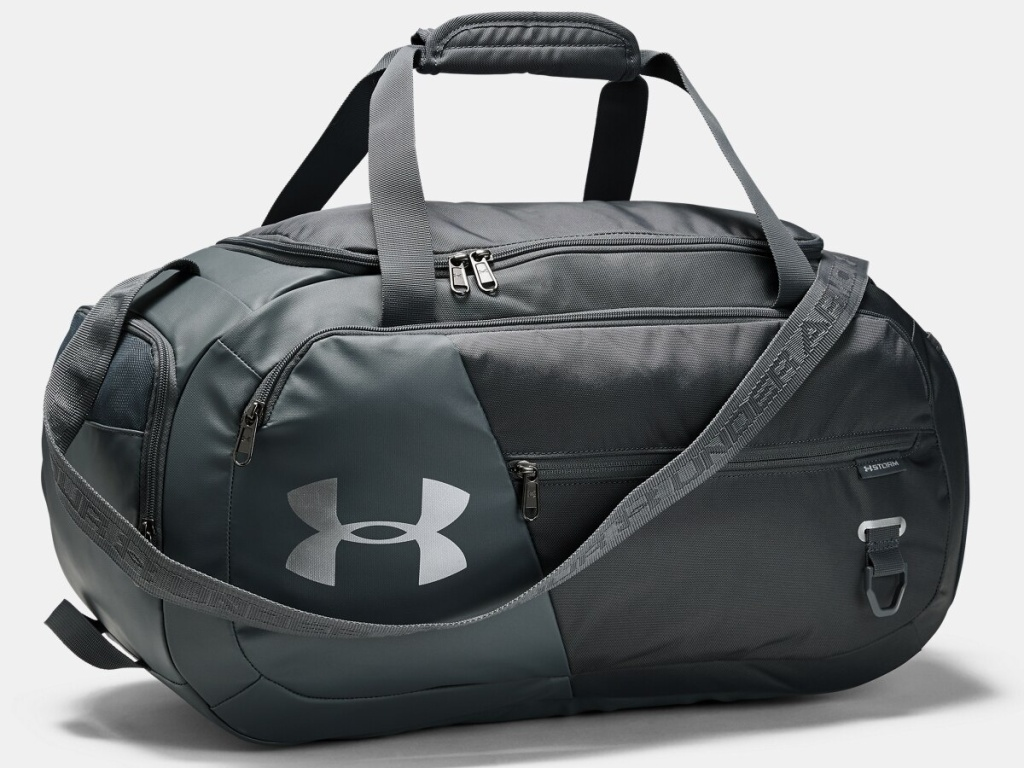 gray duffle bag with silver logo