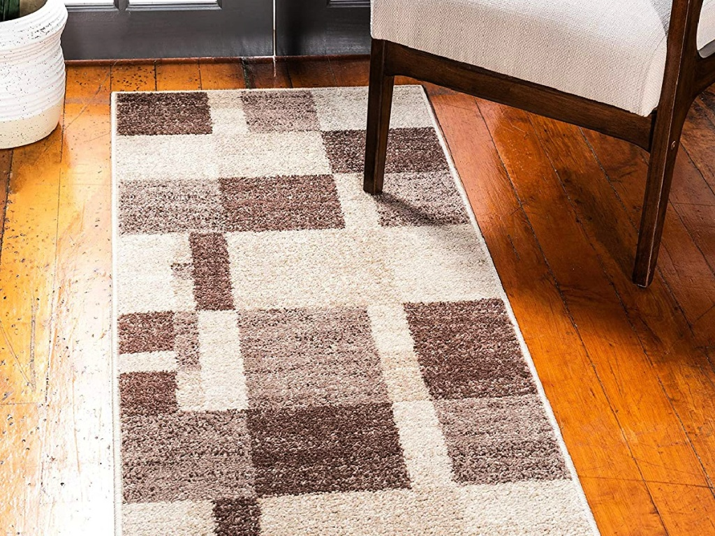 Unique Loom Autumn Collection Abstract Checkered 2'x6' Runner Rug