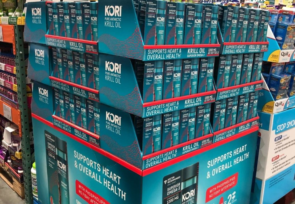 Boxes of krill oil at Costco