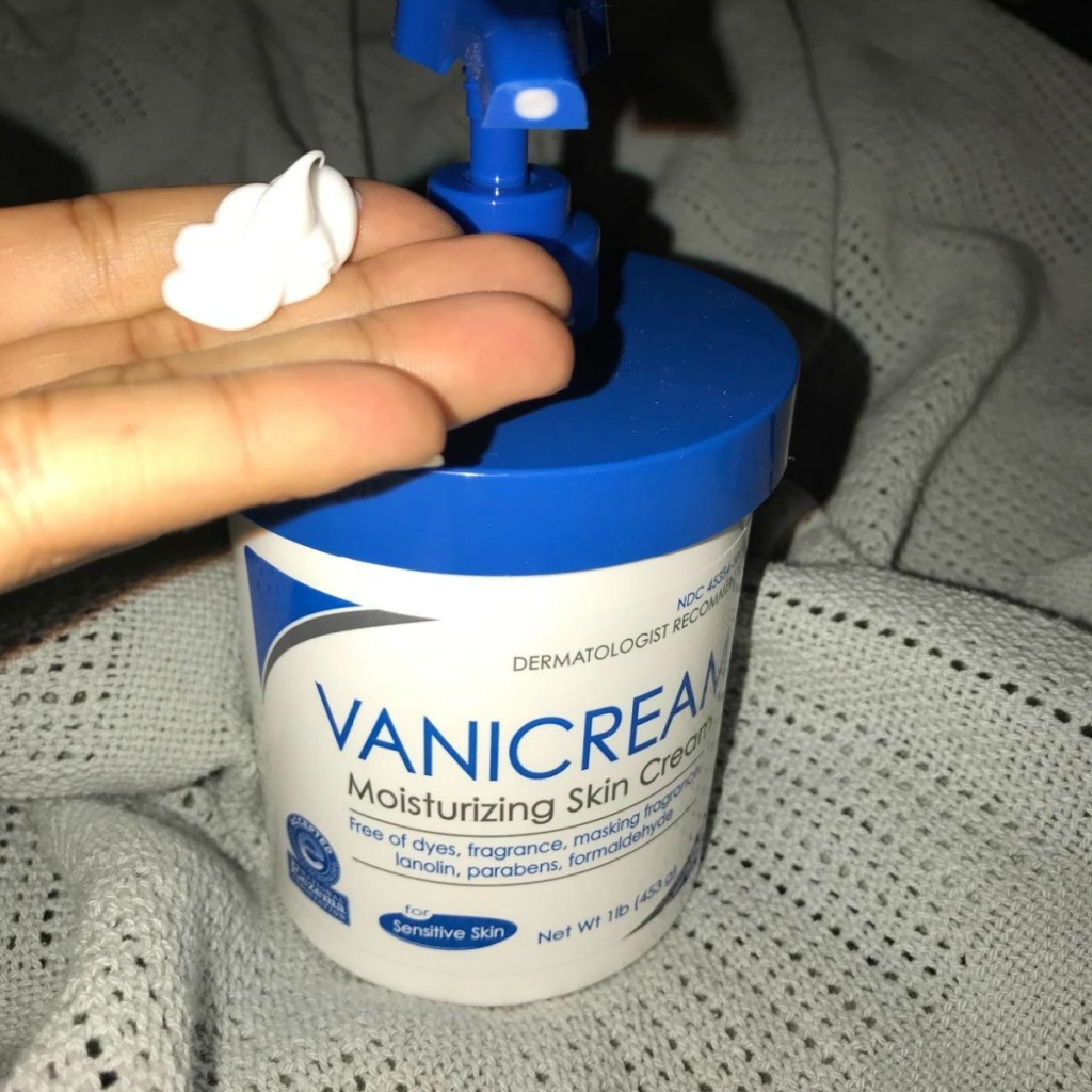 vanicream moisturizer in hand