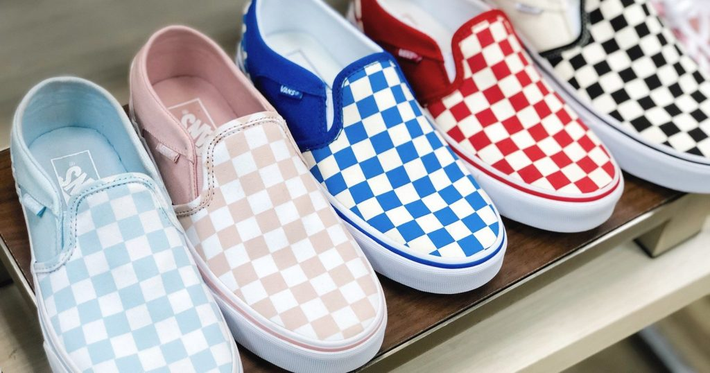 Vans Checked Shoes in a variety of colors on store shelf
