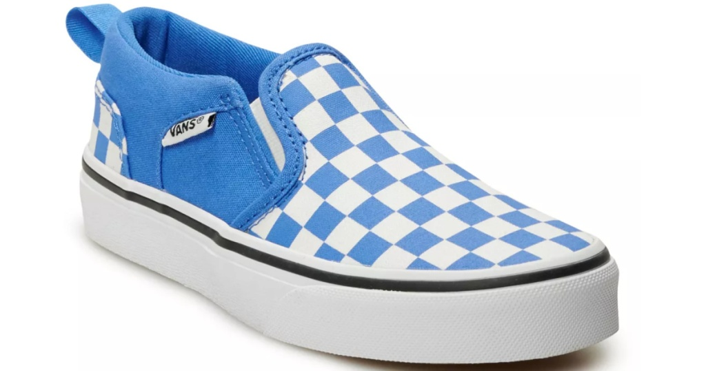 white and white check vans slip on shoe