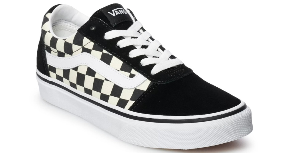 van black and white check lace up shoe