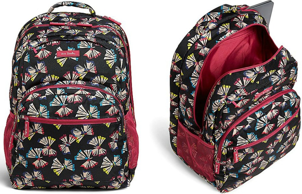 Butterfly print backpack at two angles