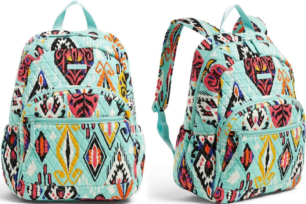 Light blue patterned backpack - two angles