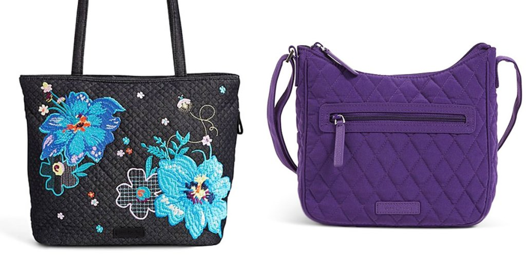 black tote bag with large blue flowers and purple quilted crossbody bag